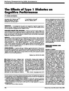 The Effects of Type 1 Diabetes on Cognitive ... - Diabetes Care