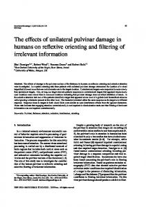 The effects of unilateral pulvinar damage in humans on reflexive