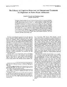 The Efficacy of Cognitive-Behavioral and ...