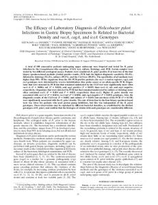 The Efficacy of Laboratory Diagnosis of Helicobacter pylori Infections ...