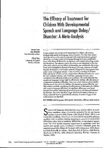 The Efficacy of Treatment for Children With ... - CiteSeerX