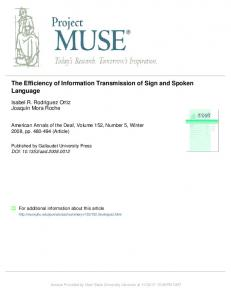 the efficiency of information transmission of sign and spoken language