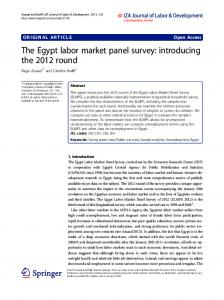 The Egypt labor market panel survey: introducing the 2012 round ...