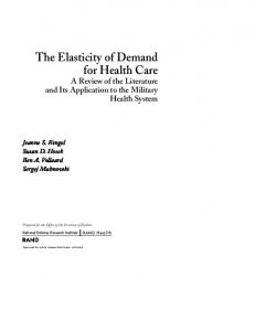 The Elasticity of Demand for Health Care - RAND Corporation