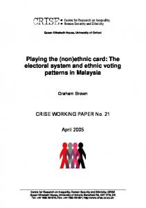 The electoral system and ethnic voting patterns in Malaysia