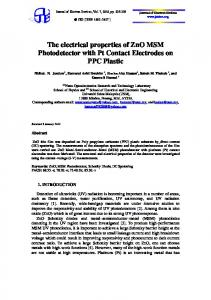 The electrical properties of ZnO MSM Photodetector with Pt Contact ...