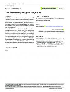 The electroencephalogram in syncope - Wiley Online Library