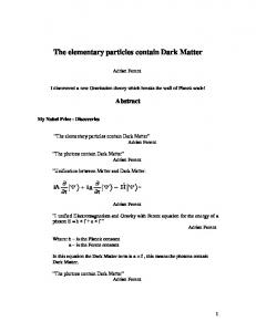 The elementary particles contain Dark Matter - viXra
