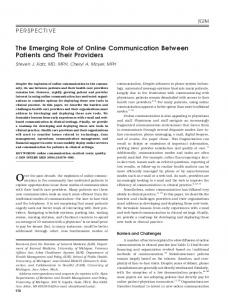 The Emerging Role of Online Communication ... - Wiley Online Library