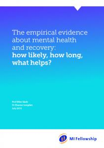 The empirical evidence about mental health and recovery - CiteSeerX