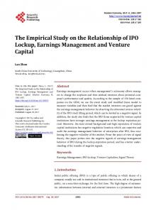 The Empirical Study on the Relationship of IPO Lockup, Earnings ...