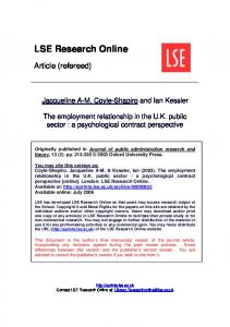 The employment relationship in the UK public sector: a psychological ...