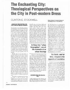 The Enchanting City: Theological Perspectives on the City in Post ...