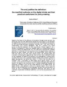 The end justifies the definition: the manifold outlooks ... - Martin Hilbert