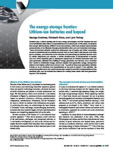 The energy-storage frontier: Lithium-ion batteries and beyond (PDF ...