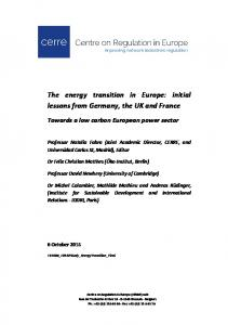 The energy transition in Europe - Centre on Regulation in Europe