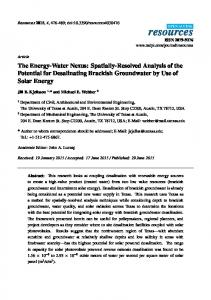 The Energy-Water Nexus: Spatially-Resolved Analysis of the ... - MDPI