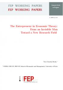 The Entrepreneur in Economic Theory - FEP - Working Papers