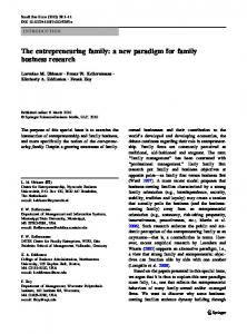 The entrepreneuring family: a new paradigm for family business ...