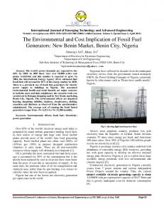 The Environmental and Cost Implication of Fossil Fuel ... - IJETAE