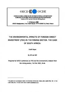 the environmental impacts of foreign direct investment (fdi) - OECD.org