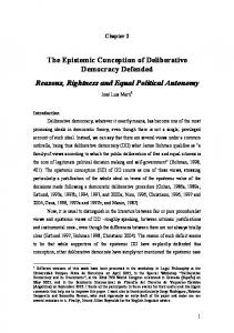 The Epistemic Conception of Deliberative Democracy Defended ...