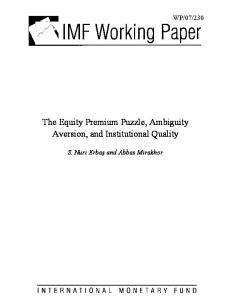The Equity Premium Puzzle, Ambiguity Aversion, and ... - SSRN papers
