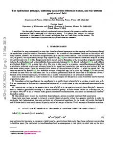The equivalence principle, uniformly accelerated reference frames ...