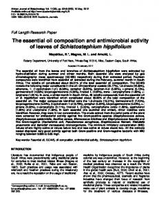 The essential oil composition and antimicrobial activity of leaves of ...