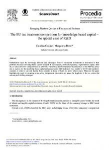 The EU Tax Treatment Competition for ... - ScienceDirect.com