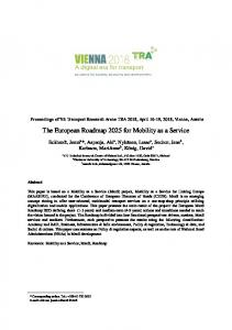 The European Roadmap 2025 for Mobility as a Service