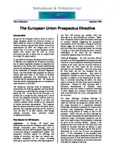 The European Union Prospectus Directive - Shearman & Sterling