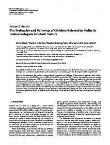 The Evaluation and Followup of Children Referred to Pediatric ...