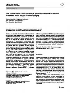 The evaluation of a fast and simple pesticide ... - Springer Link