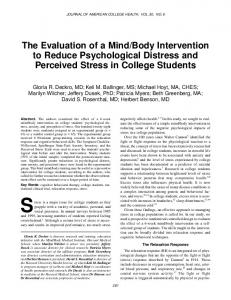 The Evaluation of a Mind/Body Intervention to Reduce ...