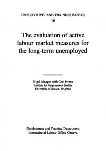 The evaluation of active labour market measures for the long ... - ILO