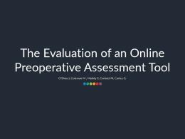 The Evaluation of an Online Preoperative Assessment