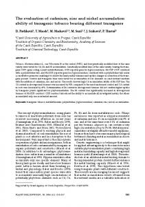 The evaluation of cadmium, zinc and nickel accumulation ability of ...