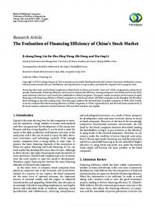 The Evaluation of Financing Efficiency of China's Stock Market
