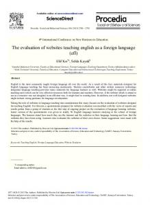 The Evaluation of Websites Teaching English as a Foreign Language