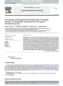 The evolution of interorganizational relationships in ...