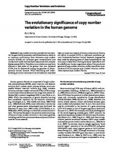 The evolutionary significance of copy number ...