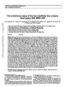 The evolutionary status of the low-metallicity blue compact dwarf ...