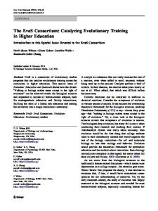 The EvoS Consortium: Catalyzing Evolutionary Training in Higher ...