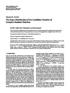 The Exact Distribution of the Condition Number of Complex Random ...