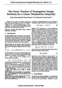 The Exact Number of Nonnegative Integer Solutions for a ... - IAENG