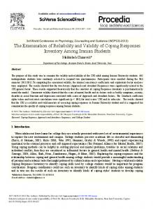 The Examination of Reliability and Validity of Coping ... - ScienceDirect