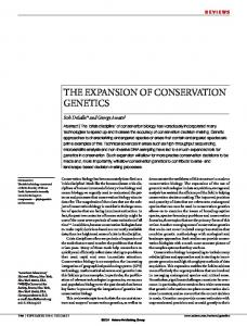 the expansion of conservation genetics - Semantic Scholar