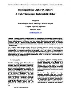 The Expeditious Cipher (X-cipher)IJCSCS - Magdy Saeb