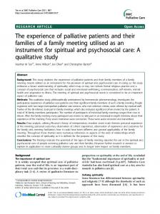 The experience of palliative patients and their ... - BMC Palliative Care
